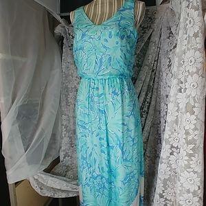Vineyard Vines Maxi Silk Print Dress Size 2